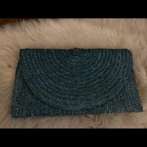 Teal Shiraleah Rattan Straw Clutch Turquoise